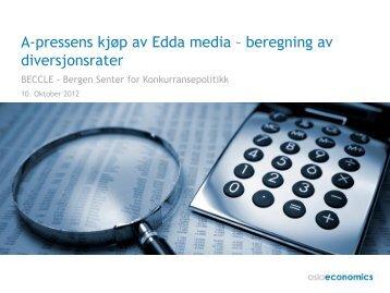 A-pressens kjøp av Edda media – beregning av diversjonsrater - NHH