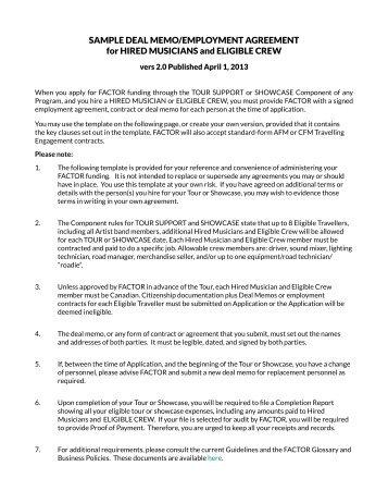 SAMPLE DEAL MEMO/EMPLOYMENT AGREEMENT for ... - Net