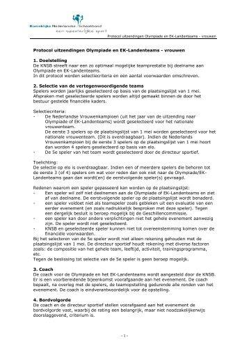 Protocol uitzendingen Olympiade en EK - vrouwen.pdf - Koninklijke ...