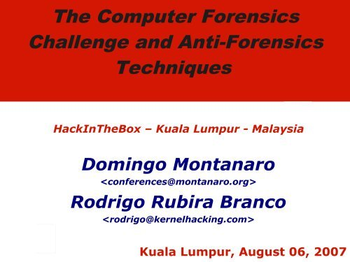 The Computer Forensics Challenge and Anti-Forensics Techniques