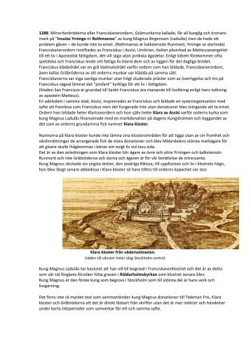 1288. Minoriterbröderna eller Franciskanerordern, Gråmunkarna ...