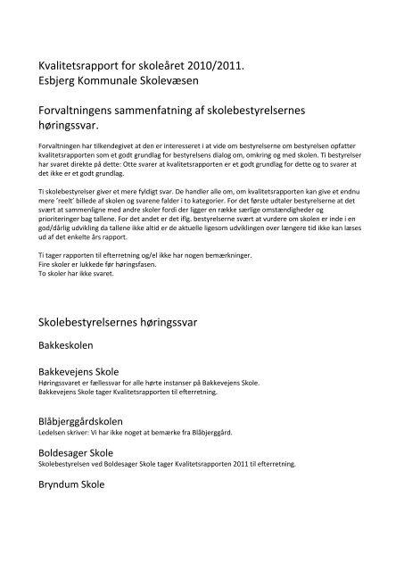 Kvalitetsrapport for skoleåret 2010/2011. Esbjerg Kommunale ...
