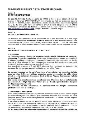 REGLEMENT DU CONCOURS PHOTO « CRÉATIONS ... - Annikids