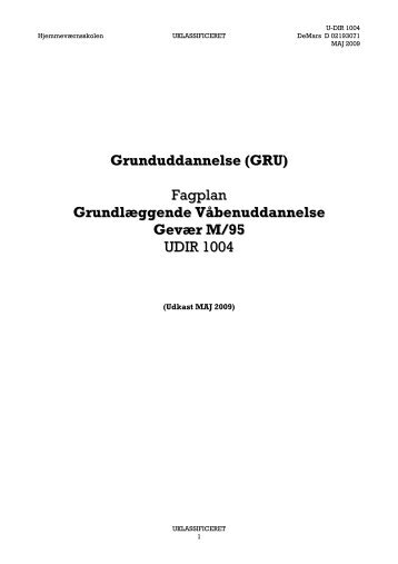 Grunduddannelse (GRU) Fagplan ... - Hjemmeværnet