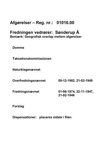 Afgørelser – Reg. nr.: 01016.00 Fredningen ... - Naturstyrelsen