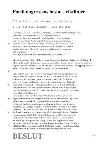 Riktlinjer efter beslut - Socialdemokraterna