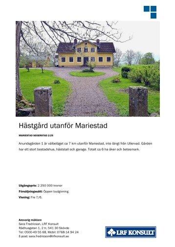 Hästgård utanför Mariestad - LRF Konsult