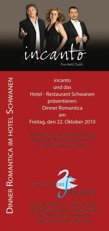 Flyer – Incanto Dinner Romantica, 22. Oktober 2010 - Benz Catering