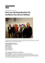 Fyra nya styrelseledamöter för Grafikens Hus AB och Stiftelse