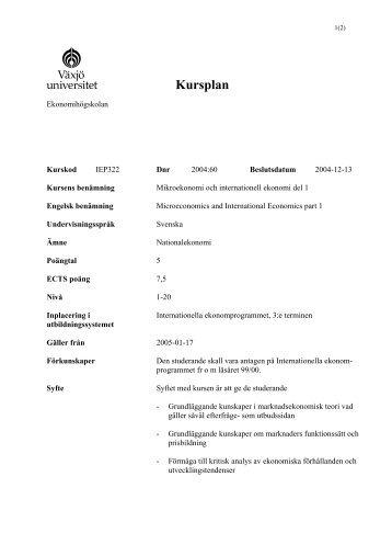 Kursplan - student . vxu . se