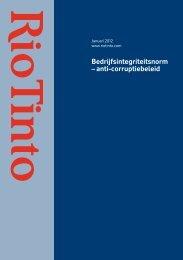 Bedrijfsintegriteitsnorm – anti-corruptiebeleid - Rio Tinto