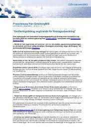 """Pressrelease från GöteborgBIO """"Verifieringsbidrag ... - Mynewsdesk"""