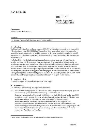 12 Voorstel beleidskaders sport (pdf) - Gemeente Franekeradeel