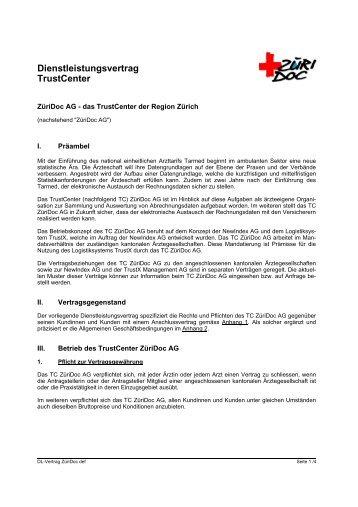 Dienstleistungsvertrag Züridoc Ag