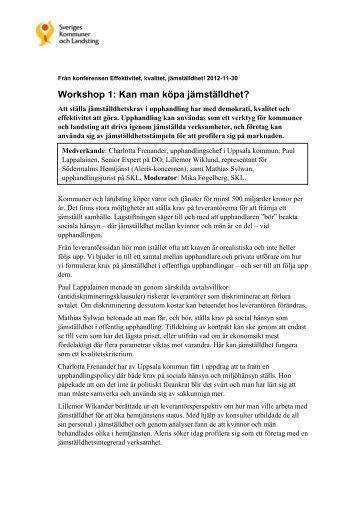 Workshop 1: Kan man köpa jämställdhet?