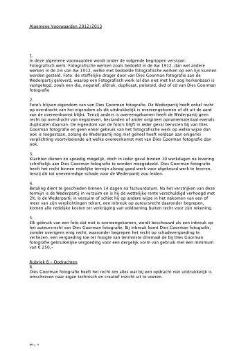 Algemene Voorwaarden 2012/2013 1. In deze ... - Dies Goorman
