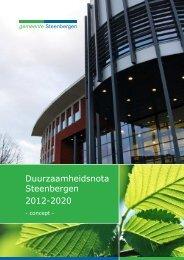 Duurzaamheidsnota Steenbergen 2012-2020 - Raadsinformatie ...
