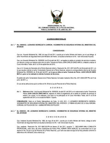 ORDEN GENERAL No. 121 DEL COMANDO GENERAL DE LA ...