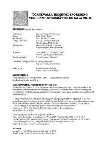 Verksamhetsberättelse 2010 - Törnevalla hembygdsförening