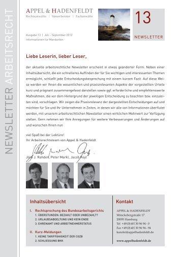 Newsletter 13 - Arbeitsrecht Juli-September 2012 - Appelhadenfeldt ...