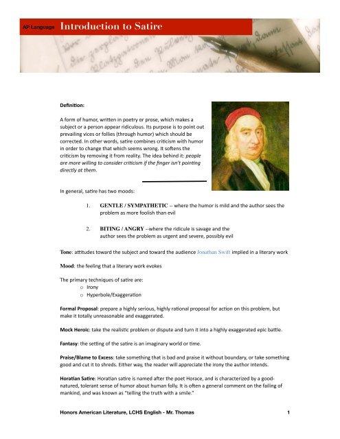 Satire Notes Lc Language Lab
