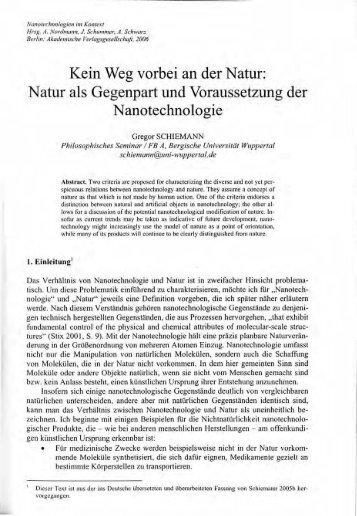 Kein Weg vorbei an der Natur: Natur als Gegenpart ... - Philosophie