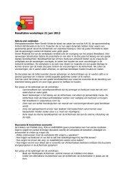 Resultaten workshops 21 juni 2012 - Regio Achterhoek