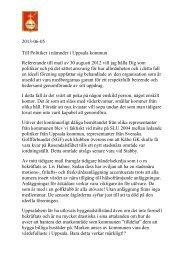 2013-06-05 Till Politiker i nämnder i Uppsala kommun ... - Upplands