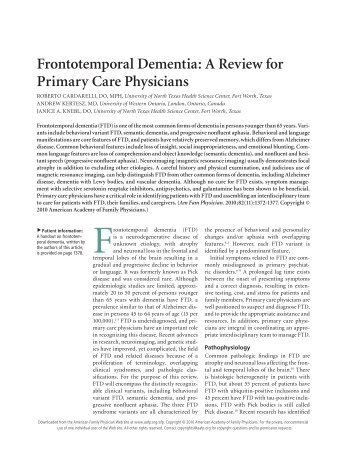 Frontotemporal Dementia: A Review for Primary Care Physicians