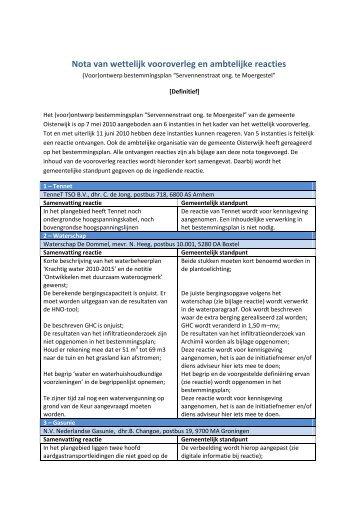 Nota van wettelijk vooroverleg en ambtelijke reacties - Gemeente ...
