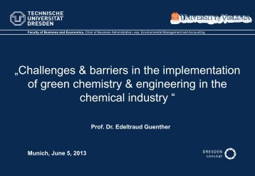 """Challenges & barriers in the implementation of green chemistry ..."