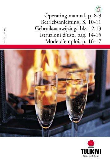 Operating manual, p. 8-9 Betriebsanleitung, S. 10-11 ... - Tulikivi