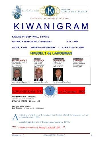 Kiwanigram 7 van 20/01/09 - Hasselt De Langeman