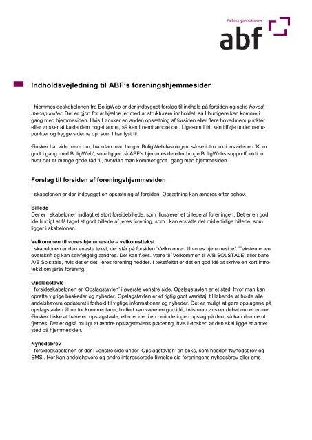 Indholdsvejledning til ABF's foreningshjemmesider