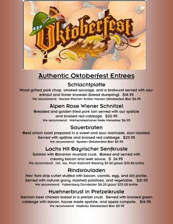 Authentic Oktoberfest Entrees - Dine Here US