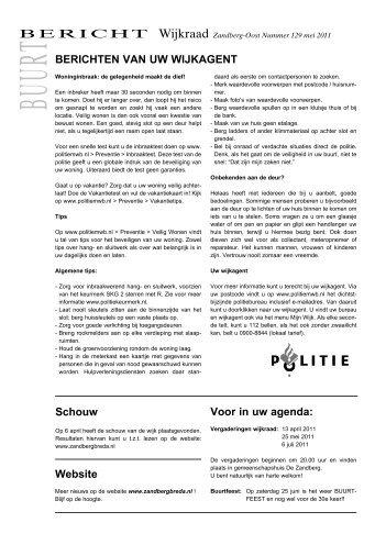 Buurt Bericht nr 129 • Oomen Offset • - Wijkraad Zandberg
