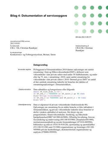 Bilag 4: Dokumentation af serviceopgave - Konkurrence