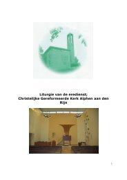Liturgie van de eredienst - CGK Alphen aan den Rijn
