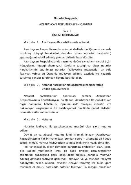 Notariat Haqqinda Xarici Islər Nazirliyi