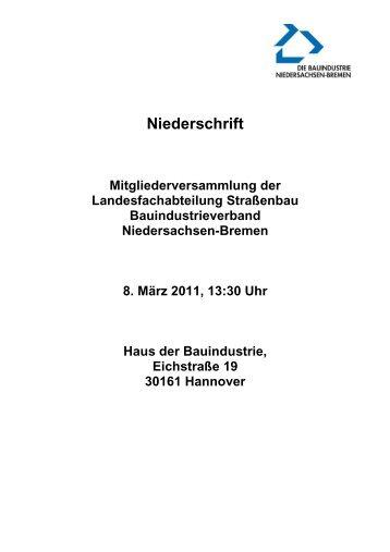 Ergebnisprotokoll 8. März 2011 - Bauindustrieverband ...