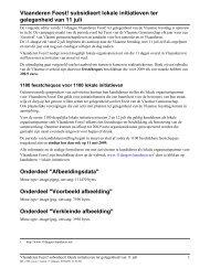 Vlaanderen Feest! subsidieert lokale initiatieven ter gelegenheid ...