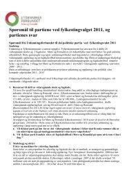 Spørsmål til partiene ved fylkestingsvalget 2011, og partienes svar