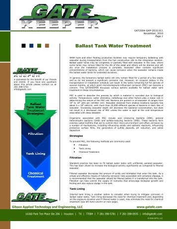 Ballast Tank Water Treatment - GATE, Inc.