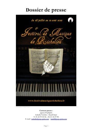 Téléchargez le programme 2012 - Festival de Richelieu