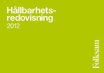 Hållbarhetsredovisning 2012 - Folksam