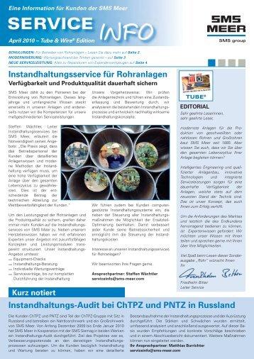 Instandhaltungsservice für Rohranlagen - SMS Meer GmbH