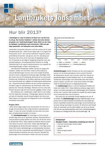 Lantbrukets lönsamhet - mars 2013 - LRF Konsult