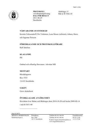 2011-06-29 B 5302-10 beslut skiljaktig - Högsta domstolen