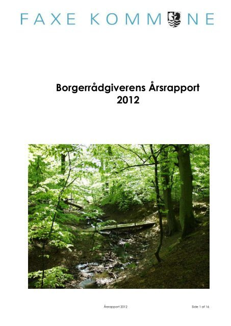 Borgerrådgiverens Årsrapport 2012 - Faxe Kommune