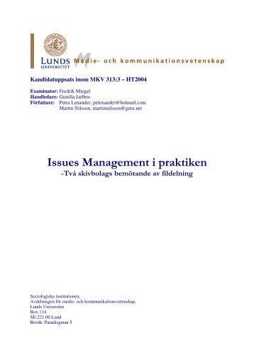 Issues management i praktiken: Två skivbolags ... - Solidaritetshuset
